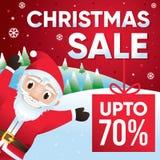 Fondo con Santa Claus, sconto di vendita di Buon Natale fino a 70 per cento Immagine Stock Libera da Diritti