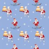 Fondo con Santa Claus sveglia Reticolo senza giunte Fotografie Stock Libere da Diritti