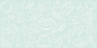Fondo con símbolos del alimento Imagenes de archivo