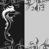 Fondo con un dragón negro stock de ilustración