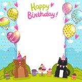 Fondo con un gatto, cane di buon compleanno Fotografia Stock