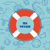 Fondo con un modello sul tema e sul salvagente marini Fotografia Stock Libera da Diritti