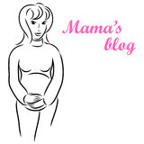 Fondo con una mujer embarazada joven Imágenes de archivo libres de regalías