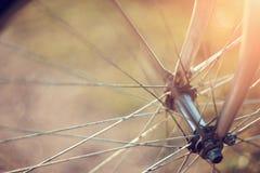 Fondo con una ruota di bicicletta con bokeh Immagini Stock Libere da Diritti