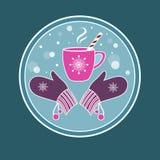 Fondo con una taza de té/de café y de manoplas calientes Fotos de archivo libres de regalías