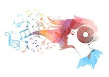 Fondo concettuale dell'acquerello della testa del vinile di una donna, tornitura nelle note musicali, vettore dei capelli Immagini Stock Libere da Diritti