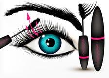 Fondo concettuale di vettore di modo di arte con il bello occhio azzurro illustrazione di stock