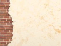 Fondo concreto agrietado de la pared de ladrillo Fotografía de archivo