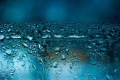 fondo condensado azul del agua de la ventana Imágenes de archivo libres de regalías