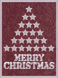 Fondo congelado rojo de la Feliz Navidad con nieve Fotos de archivo libres de regalías