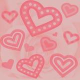 Fondo - corazones y Rose Fotografía de archivo libre de regalías