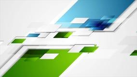 Fondo corporativo geométrico brillante del movimiento del verde azul