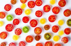 Fondo cortado de los tomates de cereza Foto de archivo