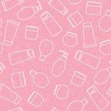 Fondo cosmético de los tarros y de las botellas Modelo colorido inconsútil con las diversas latas de los cosméticos libre illustration