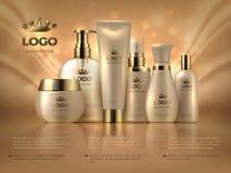 Fondo cosmetico di lusso realistico Annuncio lucido di trucco del prodotto di cura di pelle della crema della donna di cura dorat illustrazione vettoriale