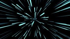 Fondo cosmico astratto 4k Raggi e linee d'ardore al neon blu nel moto Animazione avvolta illustrazione di stock