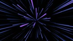 Fondo cosmico astratto 4k Raggi e linee d'ardore al neon blu e porpora nel moto Animazione avvolta illustrazione di stock