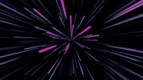 Fondo cosmico astratto 4k Raggi e linee d'ardore al neon blu e porpora nel moto Animazione avvolta illustrazione vettoriale