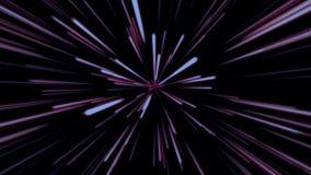 Fondo cosmico astratto 4k Raggi e linee d'ardore al neon blu e rossi nel moto Animazione avvolta royalty illustrazione gratis