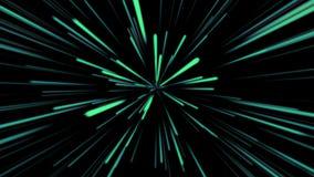 Fondo cosmico astratto 4k Raggi e linee d'ardore al neon blu e verdi nel moto Animazione avvolta illustrazione di stock