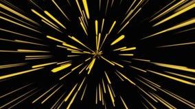 Fondo cosmico astratto 4k Raggi e linee d'ardore al neon gialli nel moto Animazione avvolta illustrazione di stock