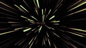 Fondo cosmico astratto 4k Raggi e linee d'ardore al neon gialli e verdi nel moto Animazione avvolta illustrazione di stock