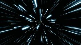 Fondo cosmico astratto 4k Raggi e linee d'ardore al neon grigi e blu nel moto Animazione avvolta illustrazione di stock