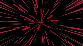 Fondo cosmico astratto 4k Raggi e linee d'ardore al neon rossi nel moto Animazione avvolta illustrazione di stock