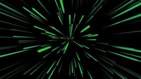 Fondo cosmico astratto 4k Raggi e linee d'ardore al neon verdi nel moto Animazione avvolta royalty illustrazione gratis