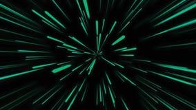 Fondo cosmico astratto 4k Raggi e linee d'ardore al neon verdi nel moto Animazione avvolta illustrazione di stock