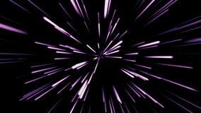 Fondo cosmico astratto 4k Rosa e raggi e linee d'ardore al neon gialli nel moto Animazione avvolta illustrazione di stock
