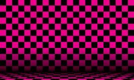 Fondo cosmico astratto a quadretti di rosa e del nero con la vista di prospettiva illustrazione di stock