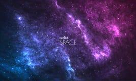 Fondo cosmico della galassia con la nebulosa, lo stardust e le stelle brillanti luminose Illustrazione per la vostra progettazion illustrazione vettoriale