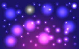 Fondo cosmico lilla del cielo stellato fantastico, vettore Illustrazione di Stock
