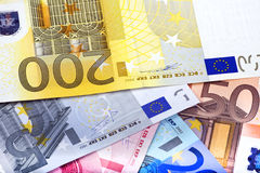 Fondo creado de notas euro Imágenes de archivo libres de regalías