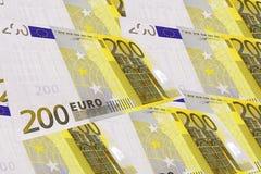 Fondo creado de notas euro Imagen de archivo libre de regalías
