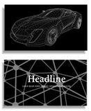 Fondo creativo abstracto del concepto del modelo del coche 3d Coche de deportes Papel con membrete y folleto poligonales del esti Imagen de archivo libre de regalías