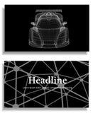 Fondo creativo abstracto del concepto del modelo del coche 3d Coche de deportes Papel con membrete y folleto poligonales del esti Fotos de archivo libres de regalías