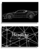 Fondo creativo abstracto del concepto del modelo del coche 3d Coche de deportes Papel con membrete y folleto poligonales del esti Foto de archivo libre de regalías