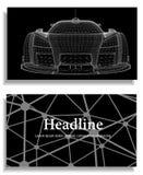 Fondo creativo abstracto del concepto del modelo del coche 3d Coche de deportes Papel con membrete y folleto poligonales del esti Imágenes de archivo libres de regalías