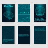 Fondo creativo astratto di vettore di concetto del cervello umano Carta intestata ed opuscolo poligonali di stile di progettazion Fotografie Stock Libere da Diritti