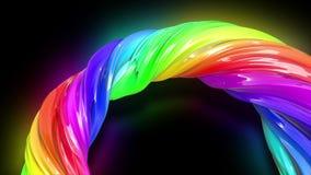 Fondo creativo colorido del extracto con la corriente de las pinturas de aceite mezcladas que forman una cinta de los colores del ilustración del vector