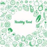 Fondo creativo con la frutta e le verdure disegnate a mano illustrazione vettoriale