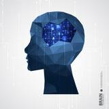 Fondo creativo del concepto del cerebro con rejilla triangular libre illustration
