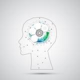 Fondo creativo del concepto del cerebro con rejilla triangular Artifici stock de ilustración