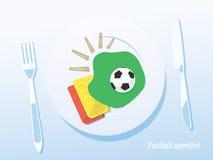 Fondo creativo del fútbol/del fútbol ¡Apetito del fútbol! Fotografía de archivo libre de regalías