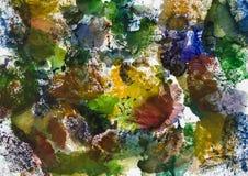 Fondo creativo dell'acquerello da monotipo fotografia stock