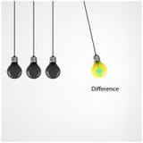 Fondo creativo di concetto di idea della lampadina, concetto di differenza Fotografie Stock Libere da Diritti
