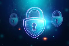 Fondo creativo e ultravioletto, serratura dell'ologramma Il concetto di sicurezza, cassaforte, segretezza di dati, protezione dei royalty illustrazione gratis