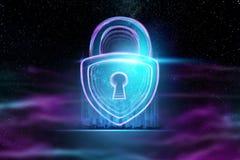 Fondo creativo, ultravioleta, cerradura del holograma El concepto de seguridad, caja fuerte, privacidad de datos, protecci?n de d libre illustration